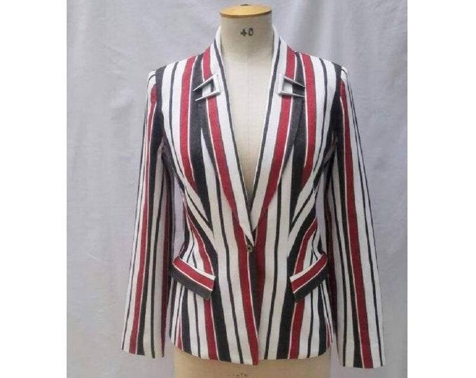 THIERRY MUGLER vintage 90s striped cotton denim jacket