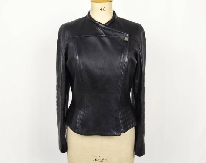 THIERRY MUGLER vintage 90s black leather jacket
