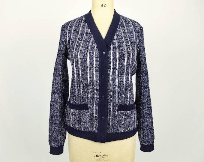 LANVIN BOUTIQUE vintage 70s sequined navy lurex cardigan