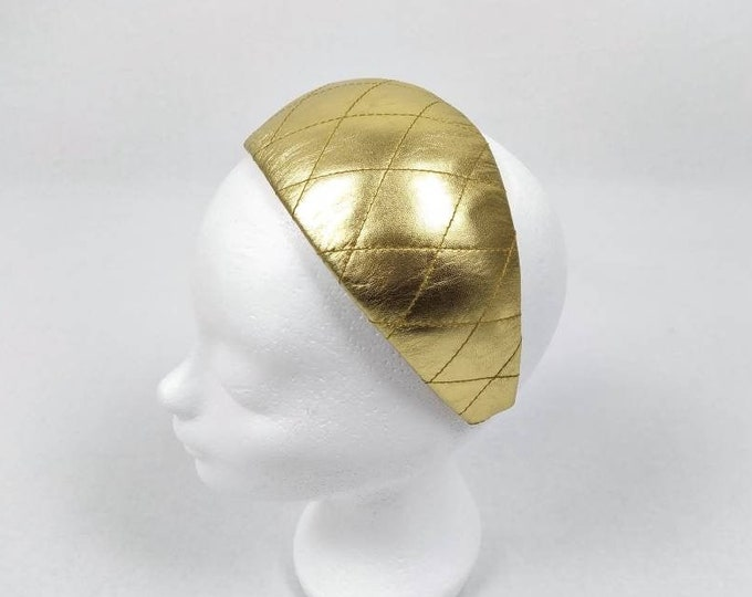 ESCADA MARGARETHA LEY 80s vintage quilted gold leather headband