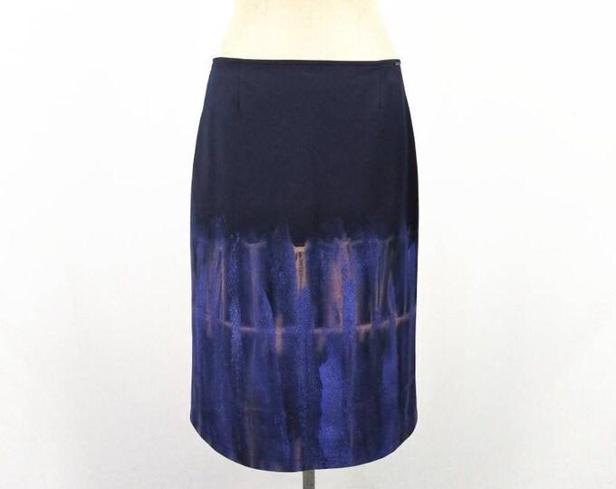KENZO JEANS vintage 90s navy tie-dye glitter paint cotton skirt