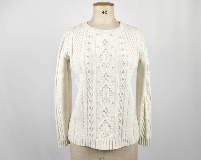 ESCADA MARGARETHA LEY vintage 90s beaded ivory wool blend sweater