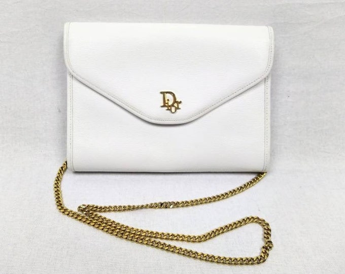 CHRISTIAN DIOR vintage 80s white leather convertible envelope bag