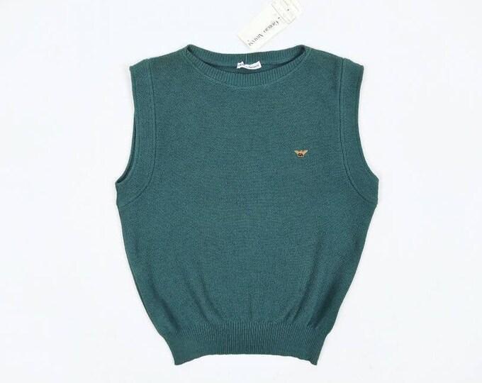 GIORGIO ARMANI vintage 80s men's teal cotton sweater vest NOS