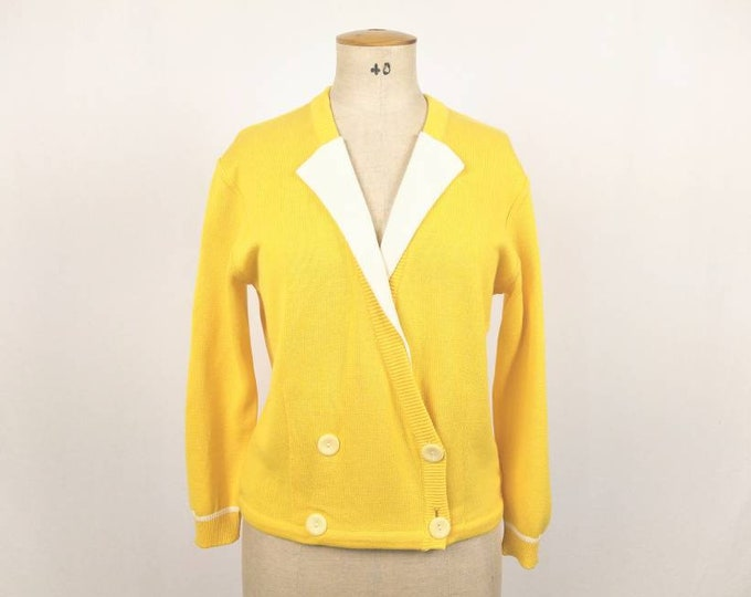 MONDI vintage 80s yellow double breasted cardigan
