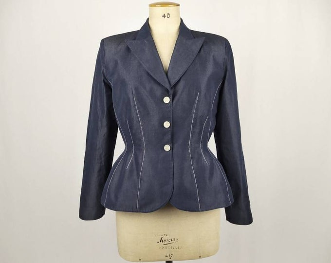 THIERRY MUGLER vintage 90s blue cotton structured jacket