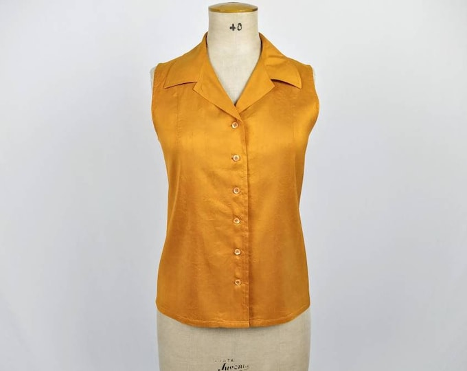 YVES SAINT LAURENT vintage 80s tangerine dupioni silk sleeveless blouse