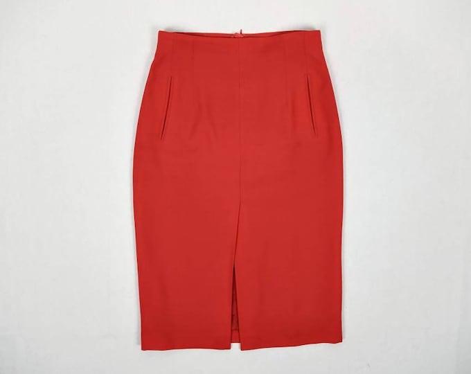 ESCADA MARGARETHA LEY vintage scarlet red wool high waist midi pencil skirt
