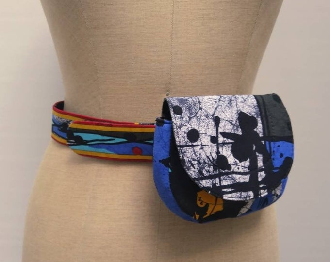 LEONARD PARIS vintage 80s abstract print fabric fanny pack