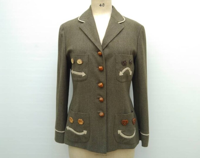 "MOSCHINO CHEAP and CHIC vintage 90s olive green wool novelty blazer jacket ""Nuts about you'"