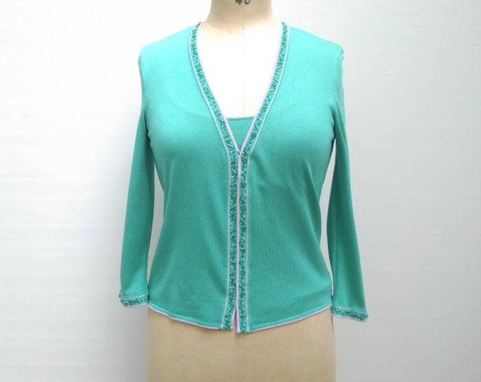ESCADA vintage 90s turquoise beaded silk knit twin set