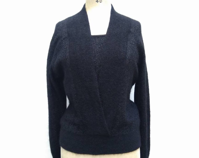 CHRISTIAN DIOR vintage 80s black mohair and lurex sweater