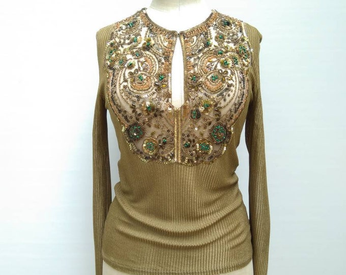 VALENTINO GARAVANI vintage 90s gold knit beaded sequined blouse top