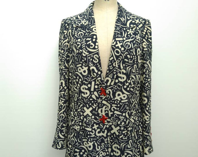 MOSCHINO CHEAP&CHIC vintage 90s black and cream symbols blazer jacket