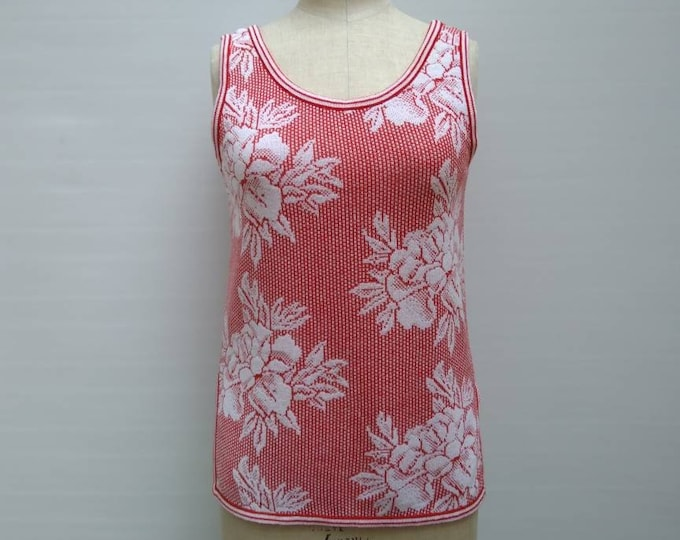 KENZO 70s vintage red and white floral knit sleeveless tunic top