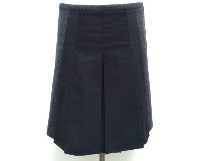 PRADA vintage 90s grey wool black inserts pleated A-line skirt