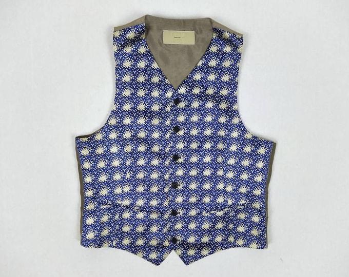 GEORGES RECH vintage men's pixel woven silk waistcoat