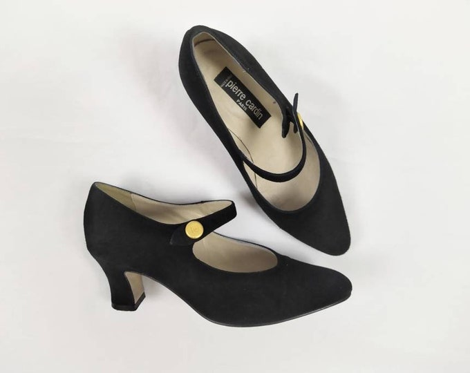 PIERRE CARDIN vintage 80s black suede mary jane pumps