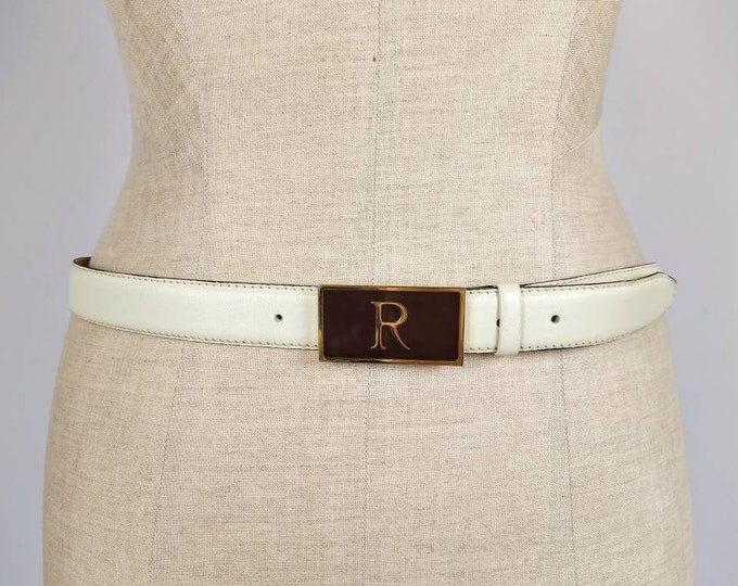 RODIER PARIS vintage cream leather belt with initial R buckle