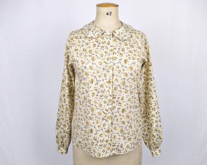 CACHAREL vintage 80s cream brown grey floral cotton blouse