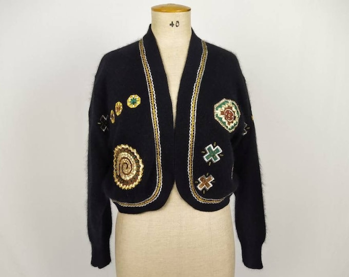 VERA MONT 80s vintage beaded patch wool and angora knit cardigan bolero
