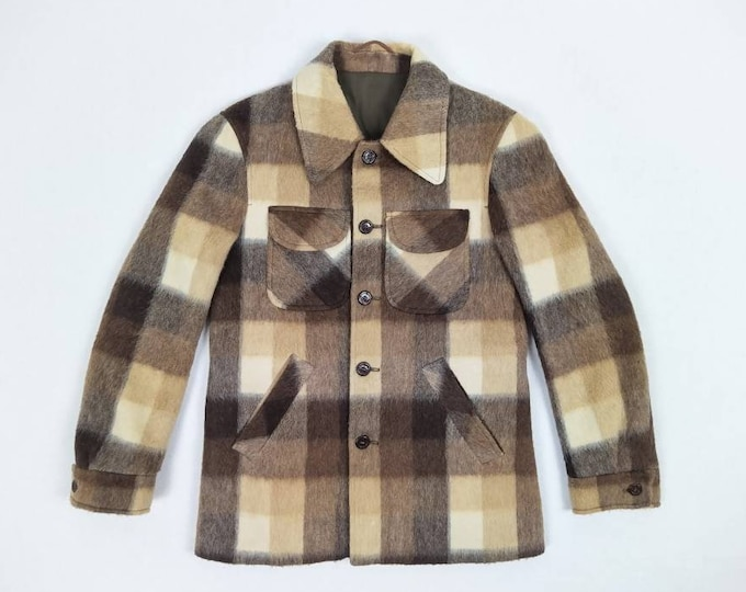 70s vintage men's brown check wool jacket by Marco Polo