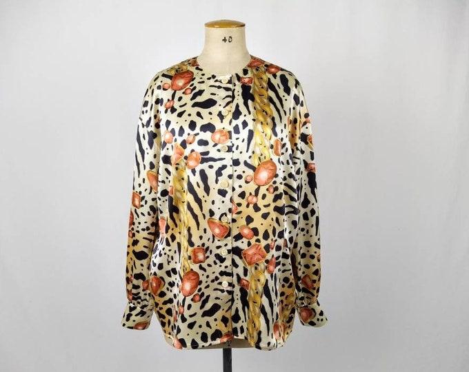 ESCADA MARGARETHA LEY vintage 80s animal/gem/chain print silk satin blouse