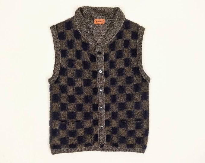 MISSONI vintage men's brown/navy checkerboard knit vest