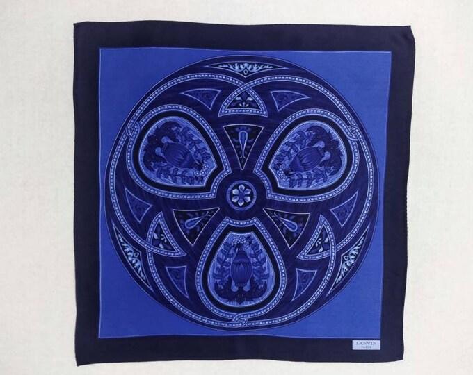 LANVIN vintage blue printed silk satin  pocket square