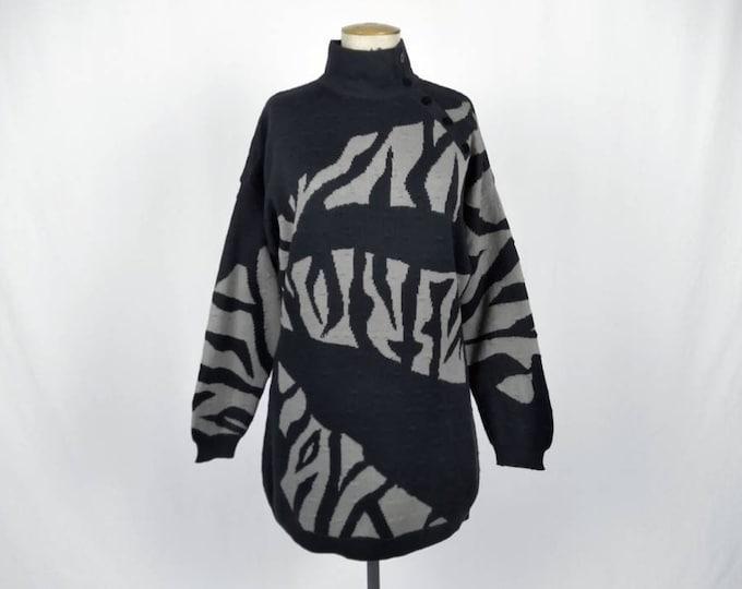 MONDI vintage 80s abstract pattern anthracite sweater tunic