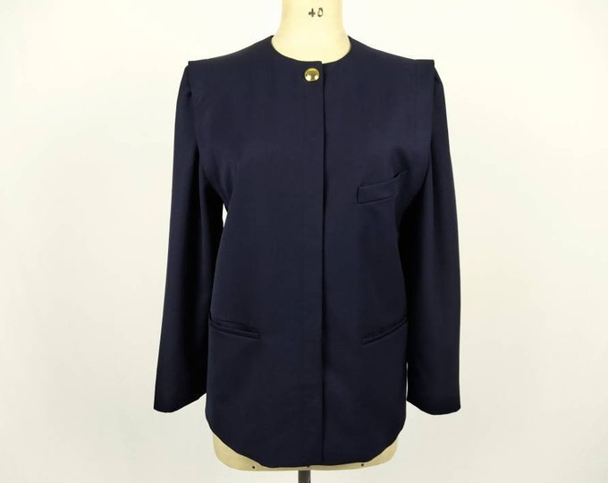 ESCADA early 80s vintage navy wool strong shoulder boxy jacket
