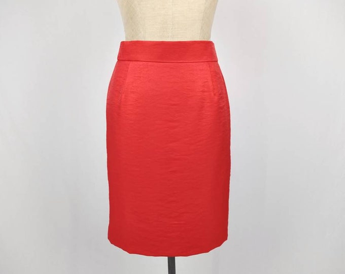 VERA MONT vintage 80s shimmering red pencil skirt