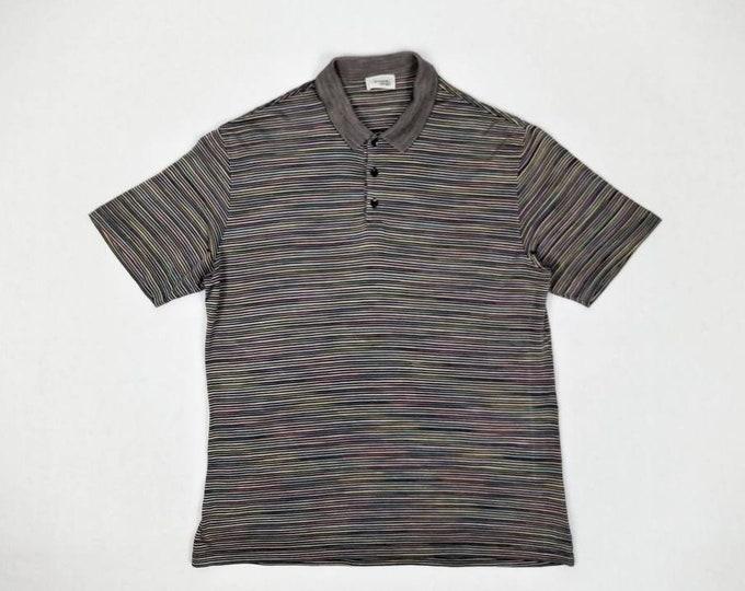 MISSONI SPORT vintage 90s men's black and rainbow striped polo shirt