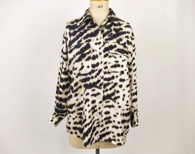 MAX MARA vintage 90s animal print silk blouse