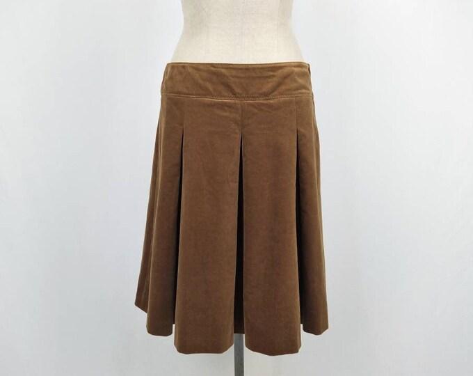 PHILOSOPHY di ALBERTA FERRETTI vintage 90s caramel velvet box pleated skirt