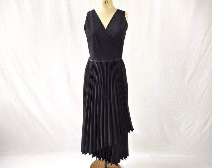 KENZO vintage 90s black pleated wrap dress