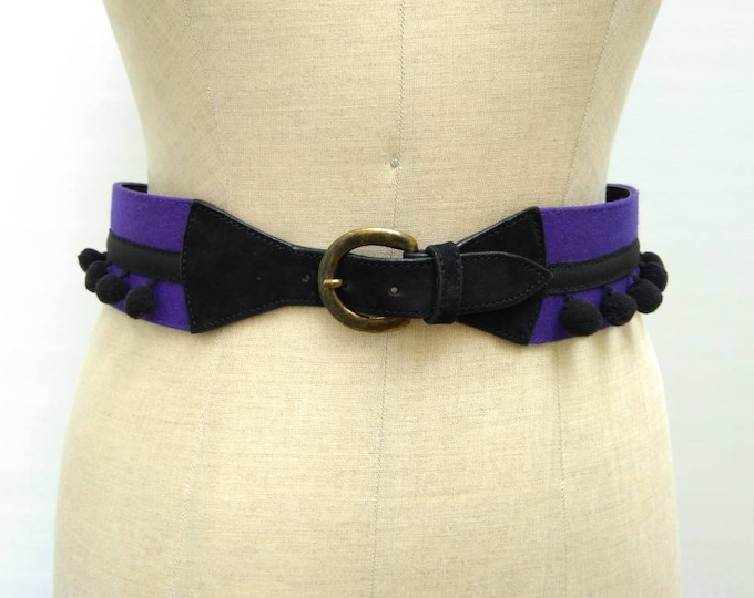 BYBLOS vintage electric purple and black wide pom pom belt
