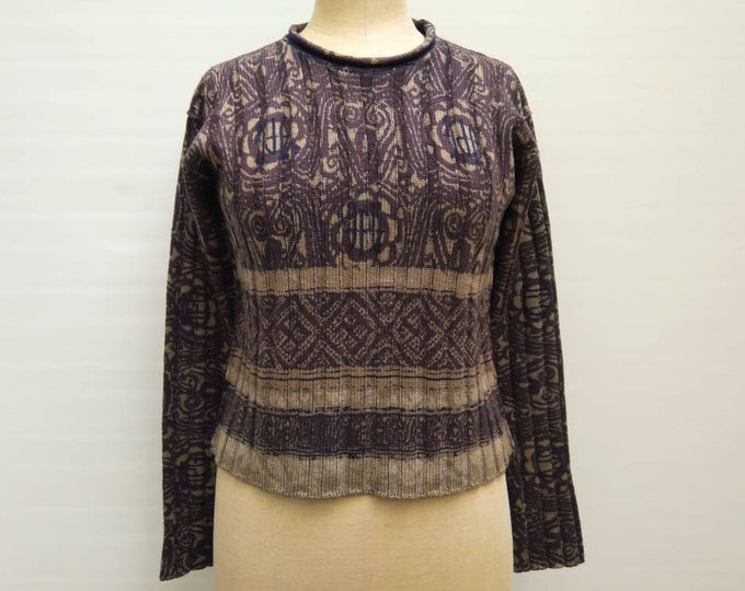 JEAN PAUL GAULTIER vintage 90s logo print wool knit sweater