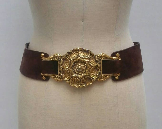 VICTOR ESSENOW PARIS vintage 70s wide brown suede belt with heavy brass adornment