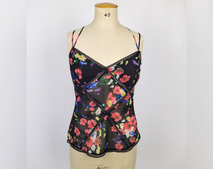 KAREN MILLEN pre-owned floral silk and lace camisole top