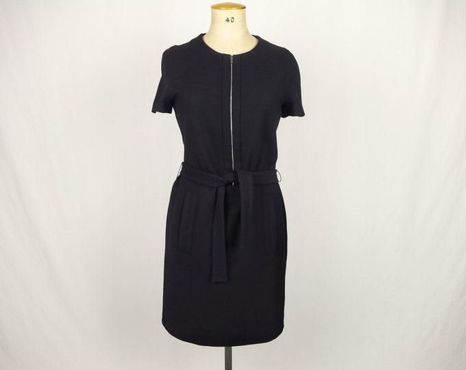 LACOSTE pre-owned black stretch wool crepe zipper front dress