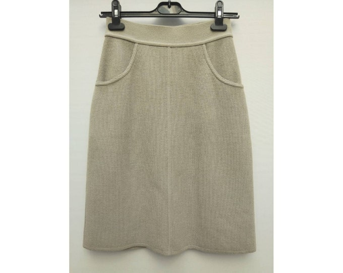SONIA RYKIEL vintage 90s sandy grey waffle knit wool skirt