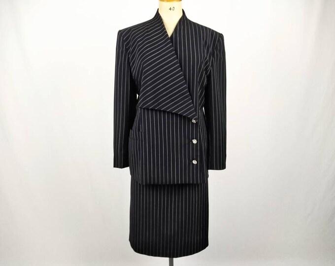ESCADA MARGARETHA LEY vintage 80s black pinstripe wool skirt suit