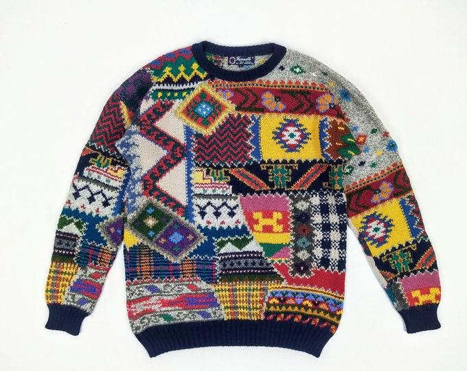 FACONNABLE vintage men's multi-pattern alpaca hand knit sweater