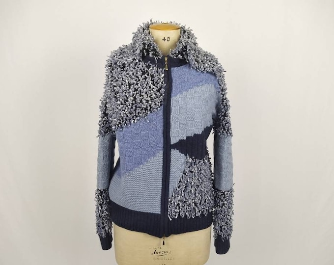 ESCADA vintage 90s blue shaggy wool knit zipper cardigan