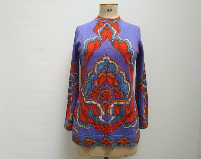 LEONARD PARIS vintage 70s vibrant print wool blend jersey sweater top
