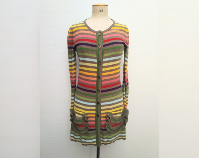 SONIA RYKIEL pre-owned rainbow striped cotton knit long cardigan