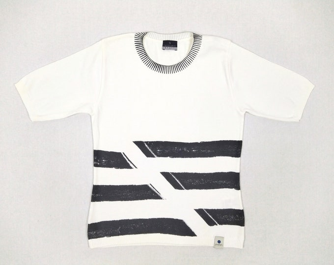 TRUSSARDI SPORT pre-owned women's printed white cotton knit top
