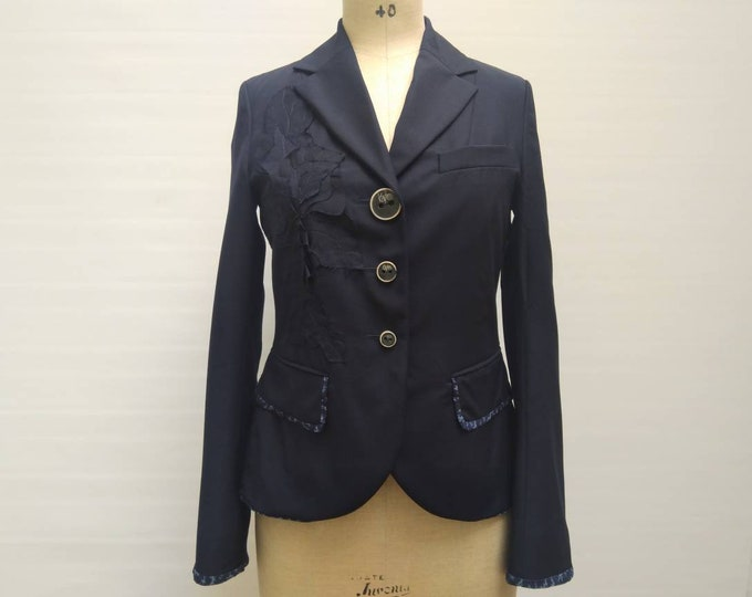 KENZO vintage navy wool blazer with flower applique