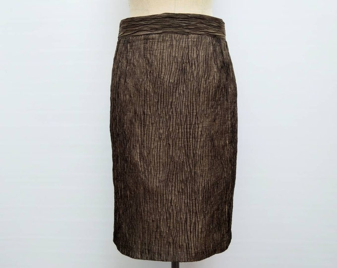 ESACADA MARGARETHA LEY vintage 80s bronze textured pencil skirt